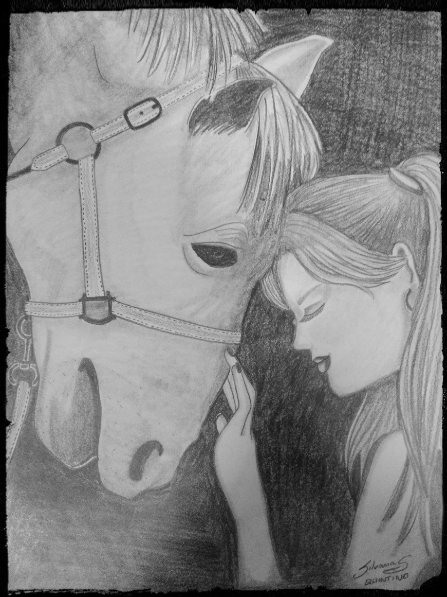 Desenho de uma menina e um cavalo.