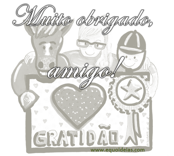 desenho de um cavalo, uma menina e um menino segurando placa com a palavra gratidão e frase de agradecimento.