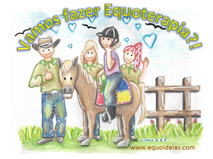 Desenho de uma equipe multidisciplinar de equoterapia, um cavalo e uma praticante. Frase de convite para projetos.
