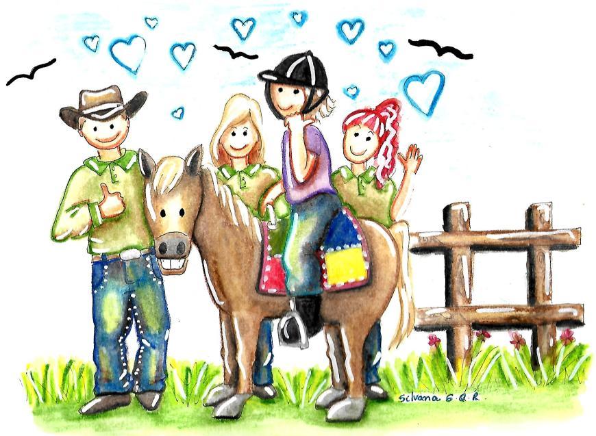 Desenho de uma equipe multidisciplinar de equoterapia, um cavalo e uma praticante.