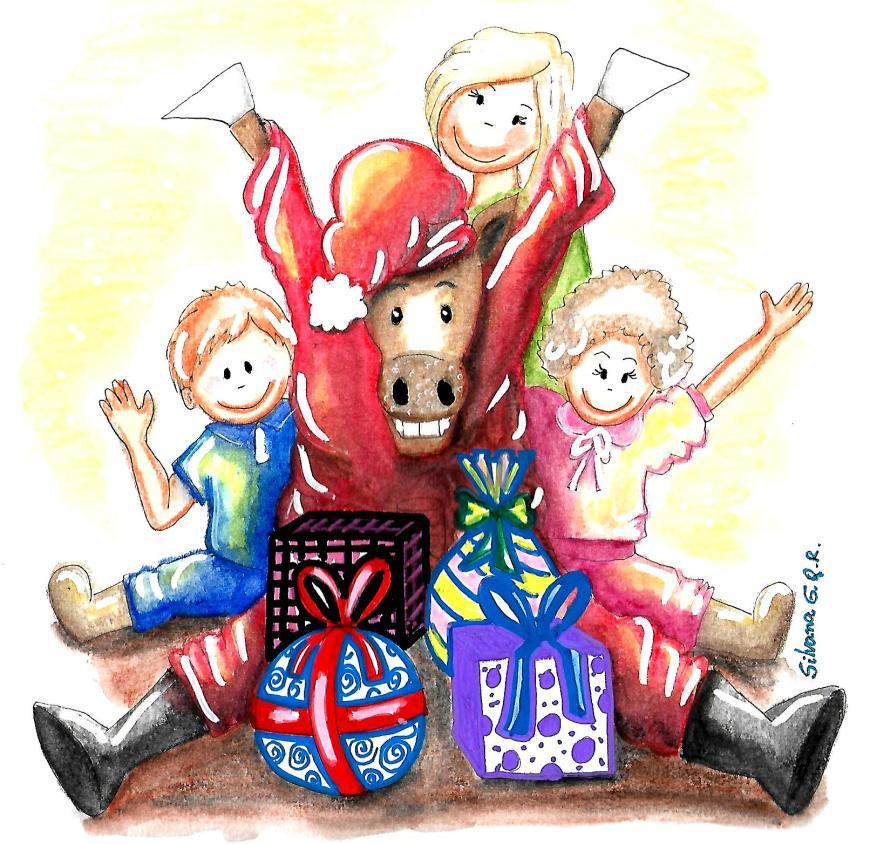 Desenho de um cavalo vestido de papai noel com presentes e crianças.