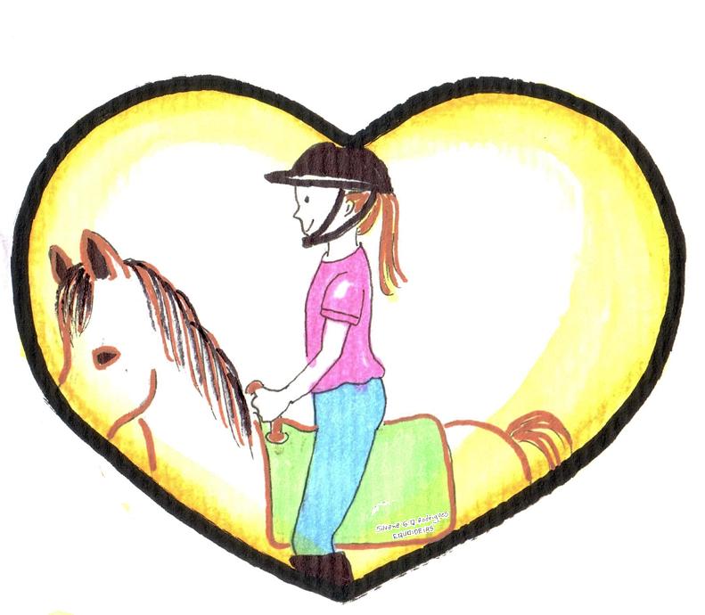 Desenho de menina com cavalo e coração.