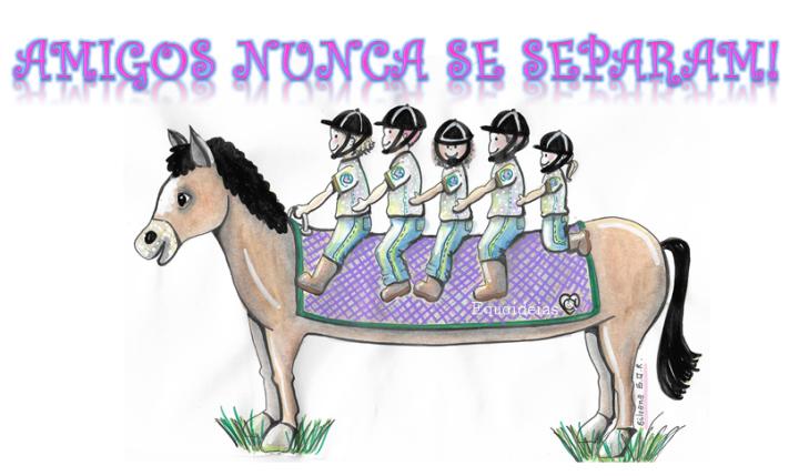 Desenho de um cavalo com cinco crianças montadas e frase.