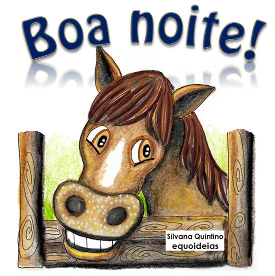 Desenho de cavalo e frase de boa noite.
