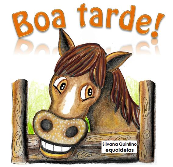 Desenho de cavalo e frase de boa tarde