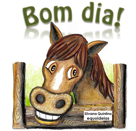 Desenho de cavalo e frase de bom dia.