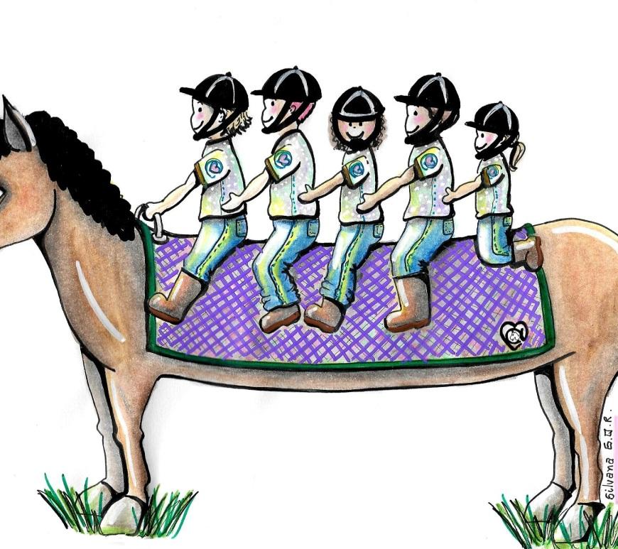 Desenho de um cavalo com cinco crianças montadas.