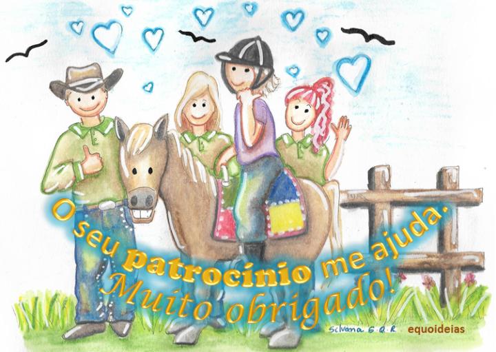 Desenho e frase para patrocinadores da Equoterapia.
