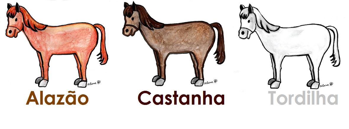Desenho de três cavalos, alazão, castanho e tordilho.