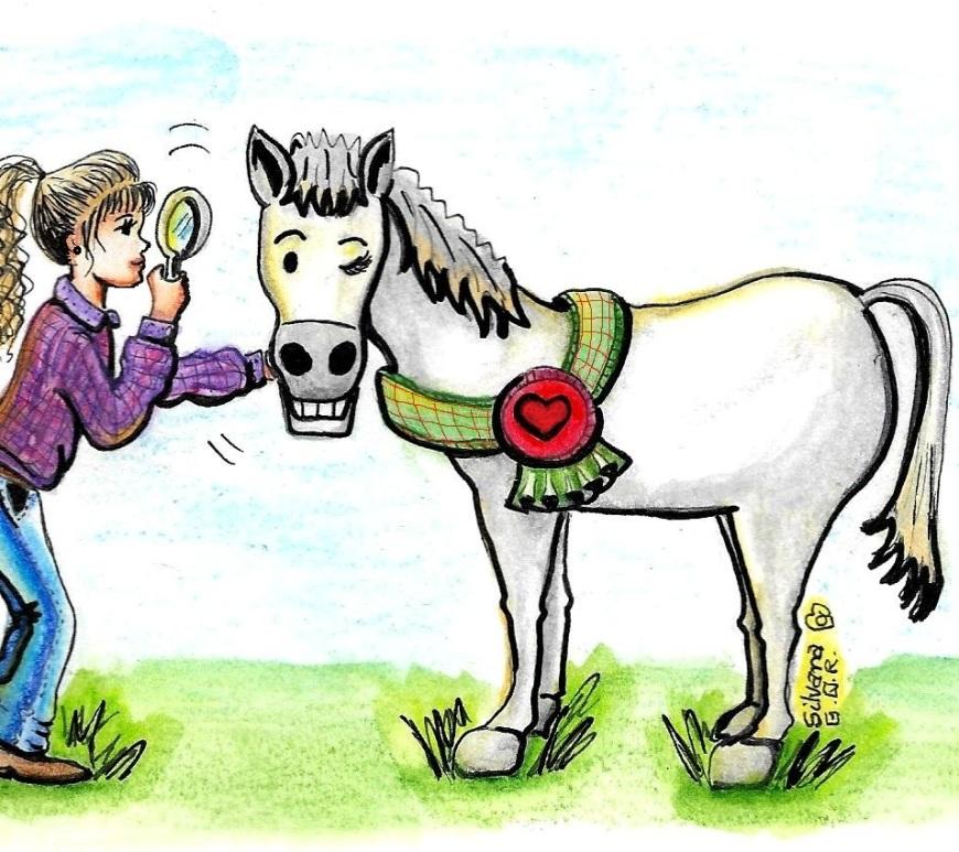Desenho de uma menina olhando um cavalo com lupa.