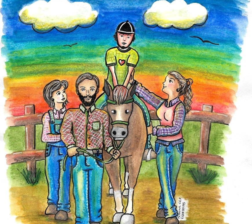 Desenho de uma sessão de Equoterapia. Com um cavalo, um praticante e três equoterapeutas