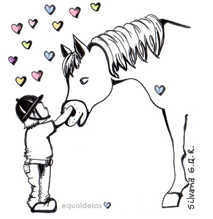 Desenho de um menino e um cavalo.