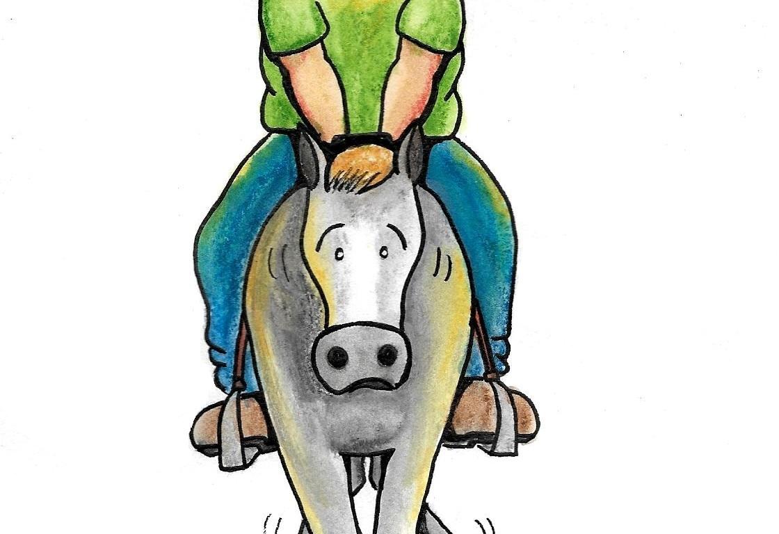 Desenho de um homem pesado montado um cavalo.