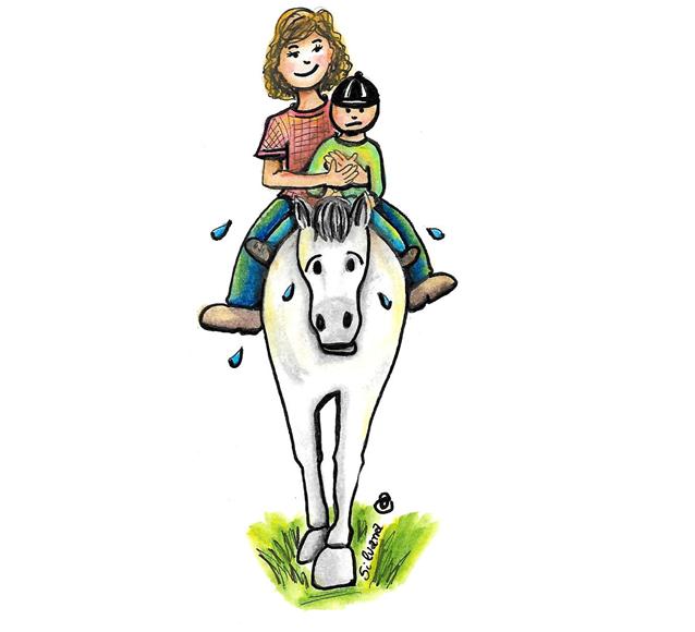 Desenho de um praticante de equoterapia e um equoterapeuta montados um cavalo.