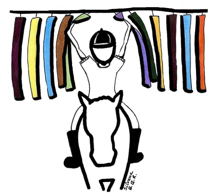 Desenho de um praticante de equoterapia abrindo uma cortina.