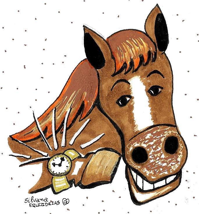 Desenho de um cavalo usando relógio de pulso.