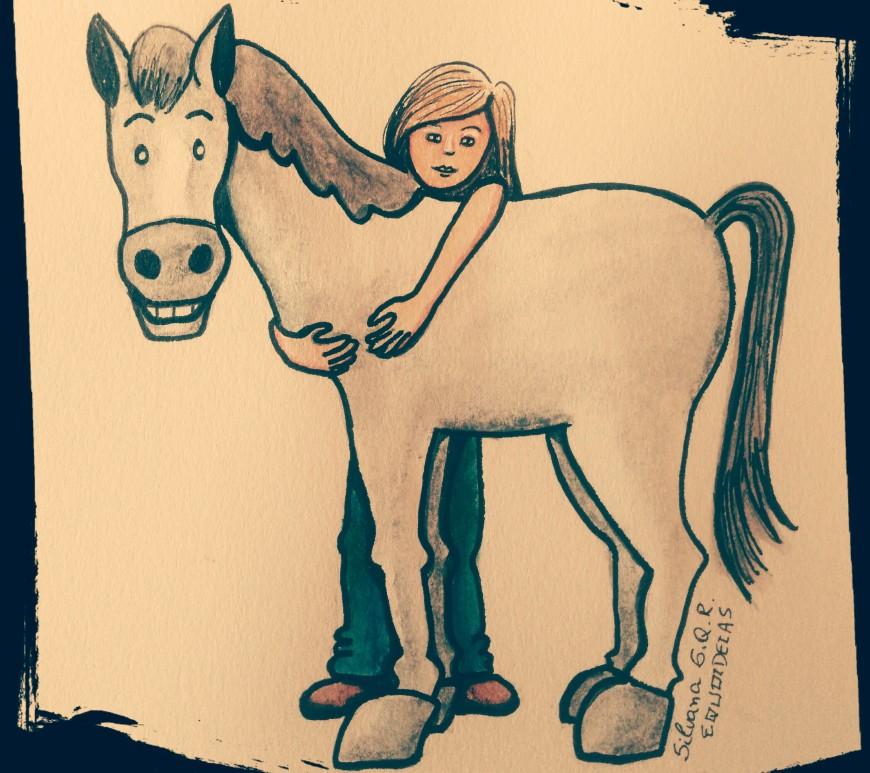 Desenho de menina abraçada um cavalo.