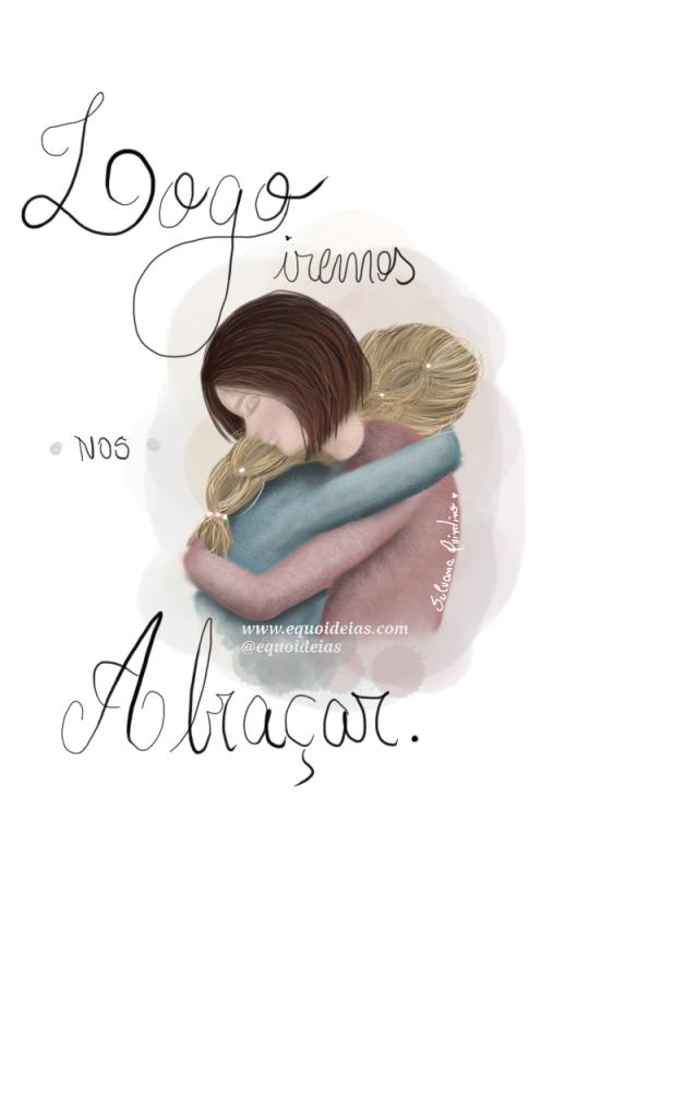 Ilustração de duas meninas se abraçando.