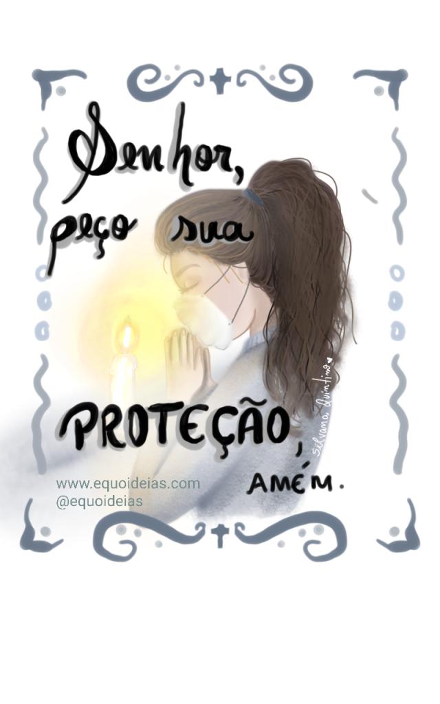 Ilustração de uma mulher com máscara fazendo uma oração.