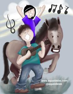 ilustração atividades lúdicas na Equoterapia.