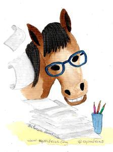 Desenho de um cavalo com muitos papéis na sua frente.