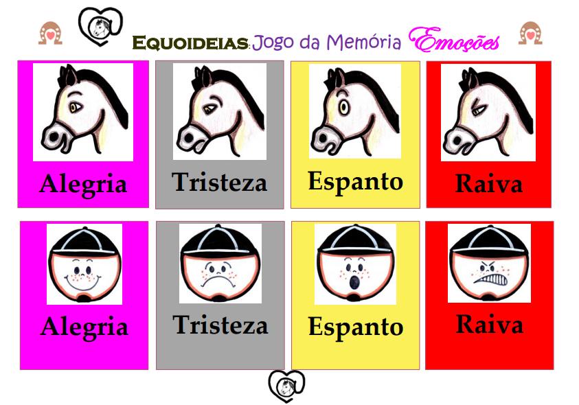 Jogo da memória. Desenho de cartas com expressões faciais de praticantes e cavalos para recortar e fazer o jogo.