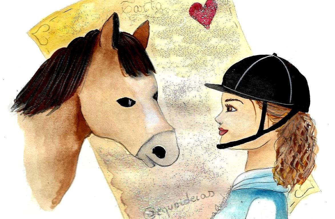 Desenho de uma menina com capacete na frente de um cavalo marrom e atrás uma carta com um coração.