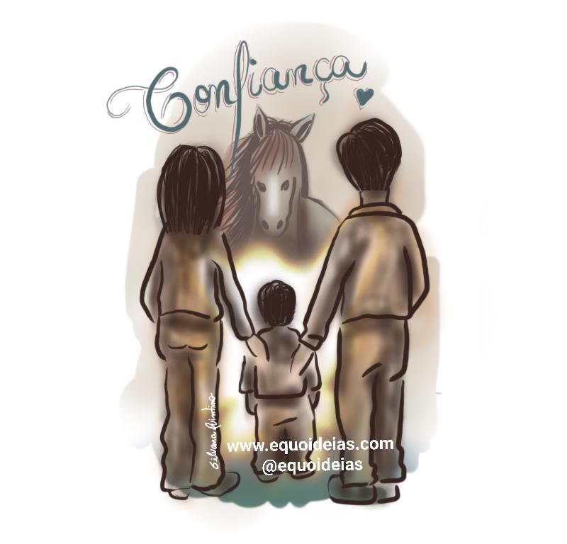 Desenho de uma família em frente à um cavalo.