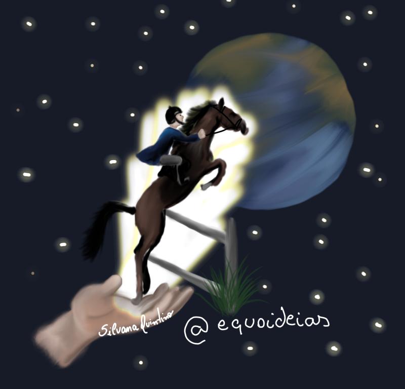 Ilustração de uma mão segurando um cavalo de hipismo com o cavaleiro saltando para o mundo.