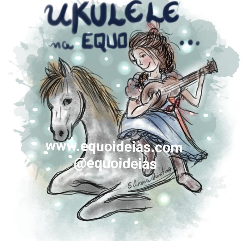 Desenho de uma menina sentada em cima de um cavalo tocando ukulele.