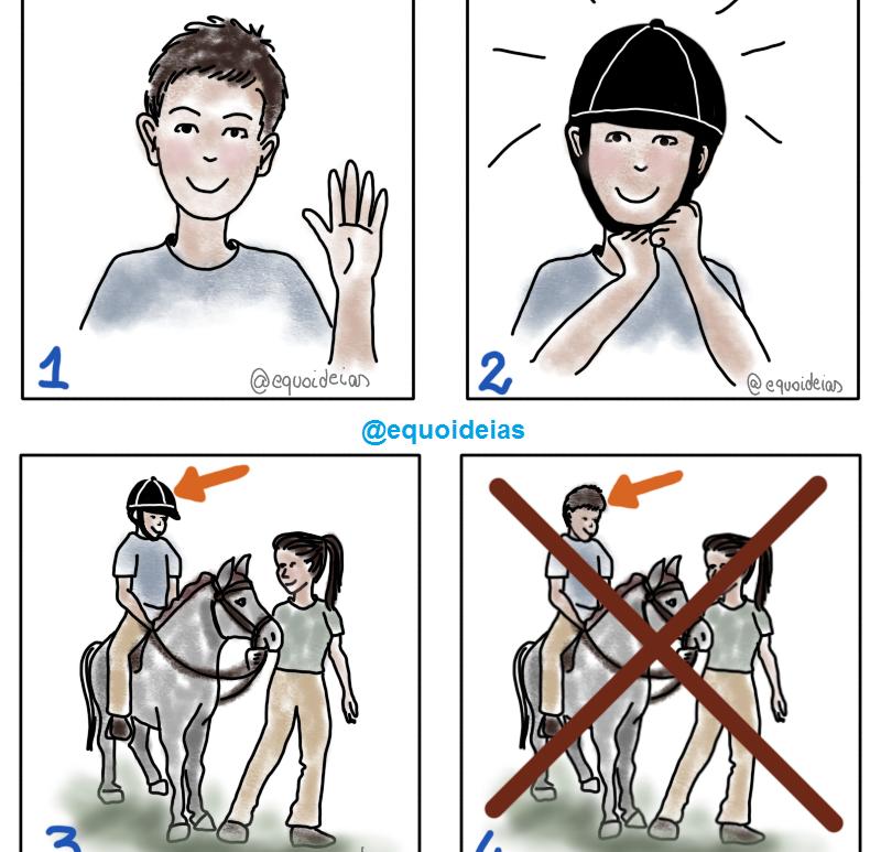 ilustrar a ação de usar capacete para montar cavalo.