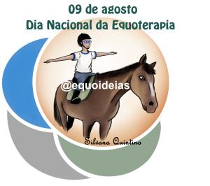 Ilustração de um menino montado um cavalo para homenagear o dia nacional da equoterapia.
