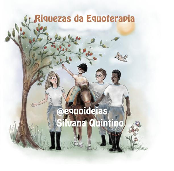 Desenho de uma sessão de Equoterapia na natureza.